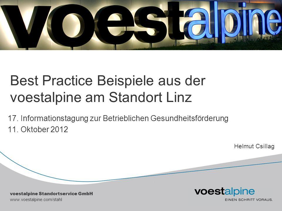 voestalpine Standortservice GmbH www.voestalpine.com/stahl Best Practice Beispiele aus der voestalpine am Standort Linz 17. Informationstagung zur Bet