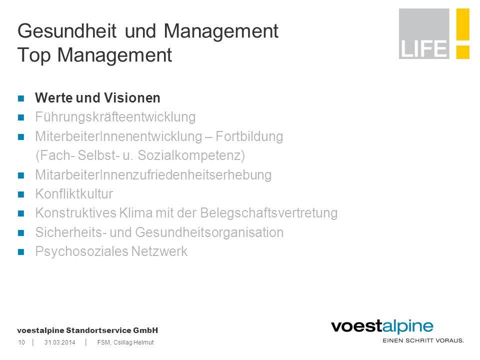    voestalpine Standortservice GmbH 1031.03.2014FSM, Csillag Helmut Gesundheit und Management Top Management Werte und Visionen Führungskräfteentwickl