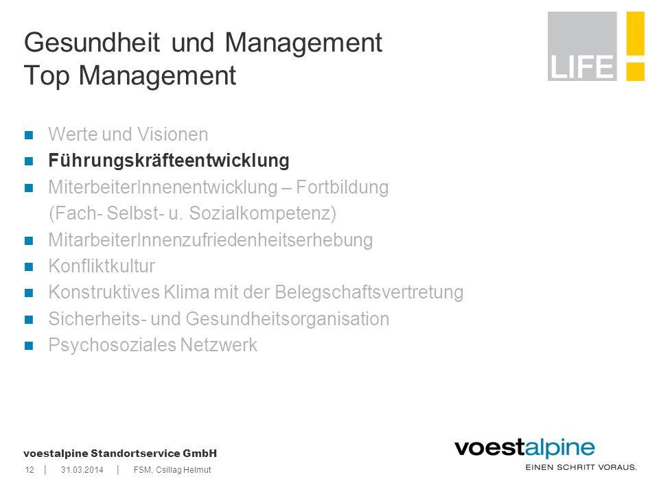    voestalpine Standortservice GmbH 1231.03.2014FSM, Csillag Helmut Gesundheit und Management Top Management Werte und Visionen Führungskräfteentwickl
