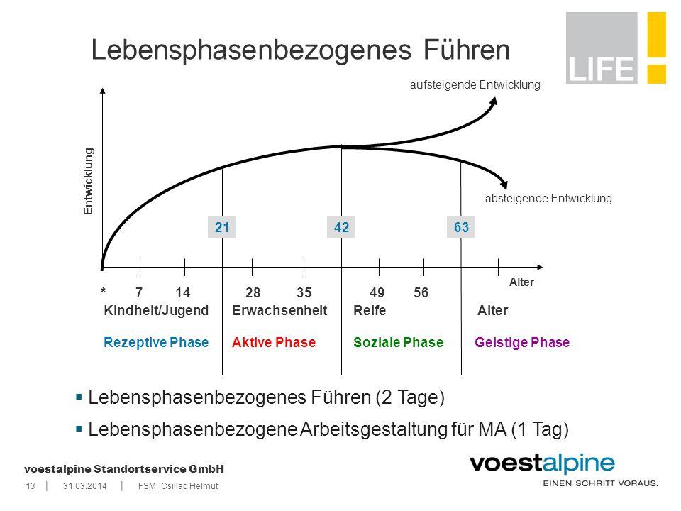    voestalpine Standortservice GmbH 1331.03.2014FSM, Csillag Helmut Lebensphasenbezogenes Führen Kindheit/Jugend Rezeptive Phase Erwachsenheit Aktive