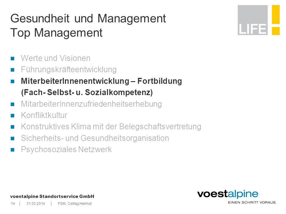    voestalpine Standortservice GmbH 1431.03.2014FSM, Csillag Helmut Gesundheit und Management Top Management Werte und Visionen Führungskräfteentwickl