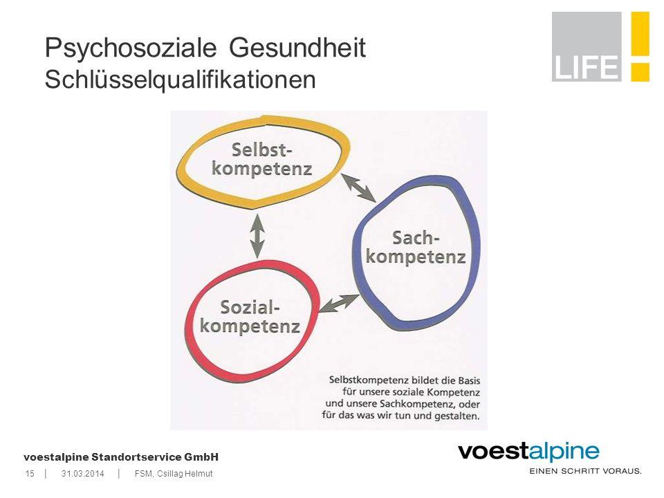    voestalpine Standortservice GmbH 1531.03.2014FSM, Csillag Helmut Psychosoziale Gesundheit Schlüsselqualifikationen