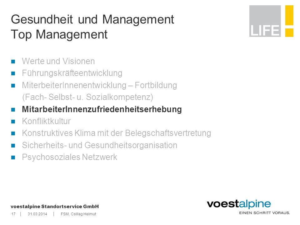    voestalpine Standortservice GmbH 1731.03.2014FSM, Csillag Helmut Gesundheit und Management Top Management Werte und Visionen Führungskräfteentwickl