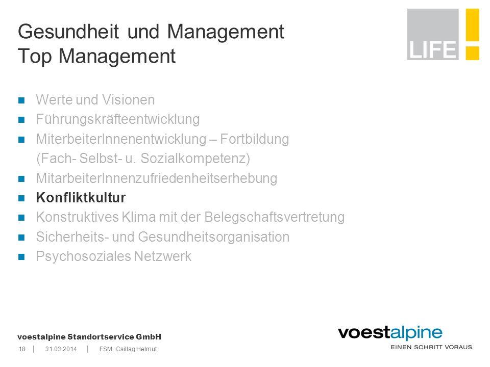    voestalpine Standortservice GmbH 1831.03.2014FSM, Csillag Helmut Gesundheit und Management Top Management Werte und Visionen Führungskräfteentwickl