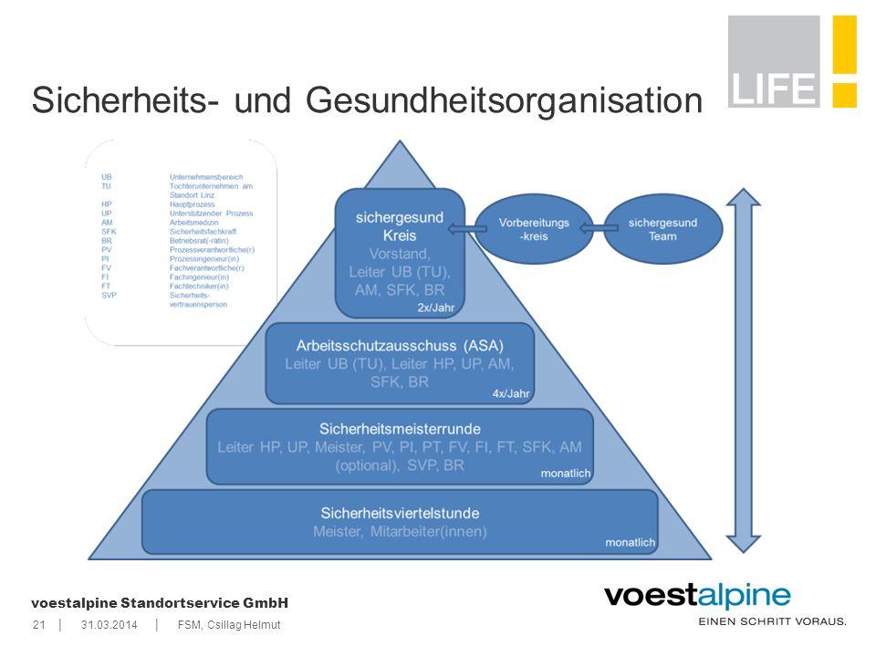    voestalpine Standortservice GmbH 2131.03.2014FSM, Csillag Helmut Sicherheits- und Gesundheitsorganisation