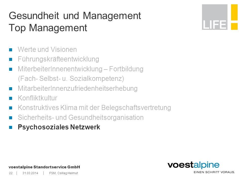    voestalpine Standortservice GmbH 2231.03.2014FSM, Csillag Helmut Gesundheit und Management Top Management Werte und Visionen Führungskräfteentwickl