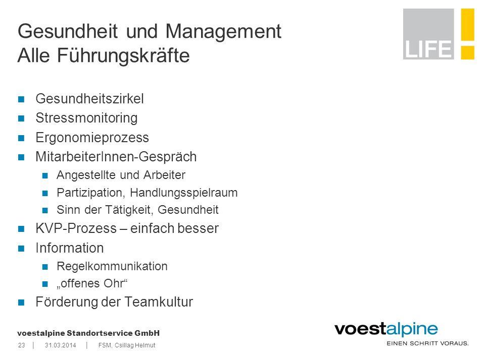    voestalpine Standortservice GmbH 2331.03.2014FSM, Csillag Helmut Gesundheit und Management Alle Führungskräfte Gesundheitszirkel Stressmonitoring E