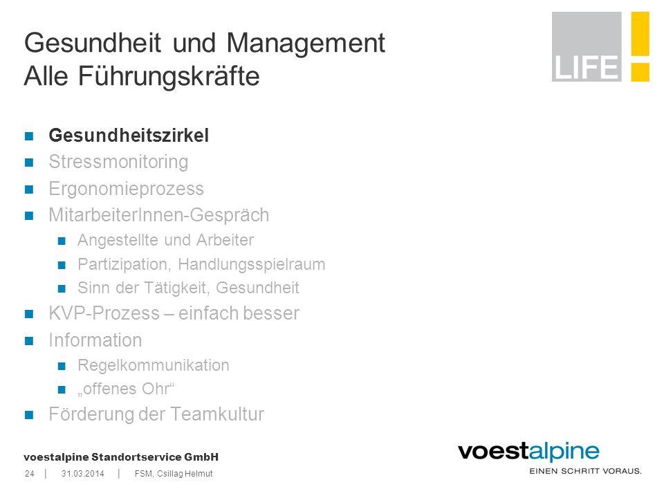 || voestalpine Standortservice GmbH 2431.03.2014FSM, Csillag Helmut Gesundheit und Management Alle Führungskräfte Gesundheitszirkel Stressmonitoring E