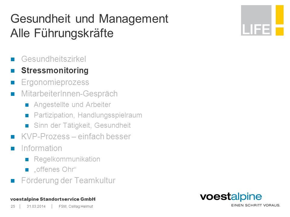 || voestalpine Standortservice GmbH 2531.03.2014FSM, Csillag Helmut Gesundheit und Management Alle Führungskräfte Gesundheitszirkel Stressmonitoring E