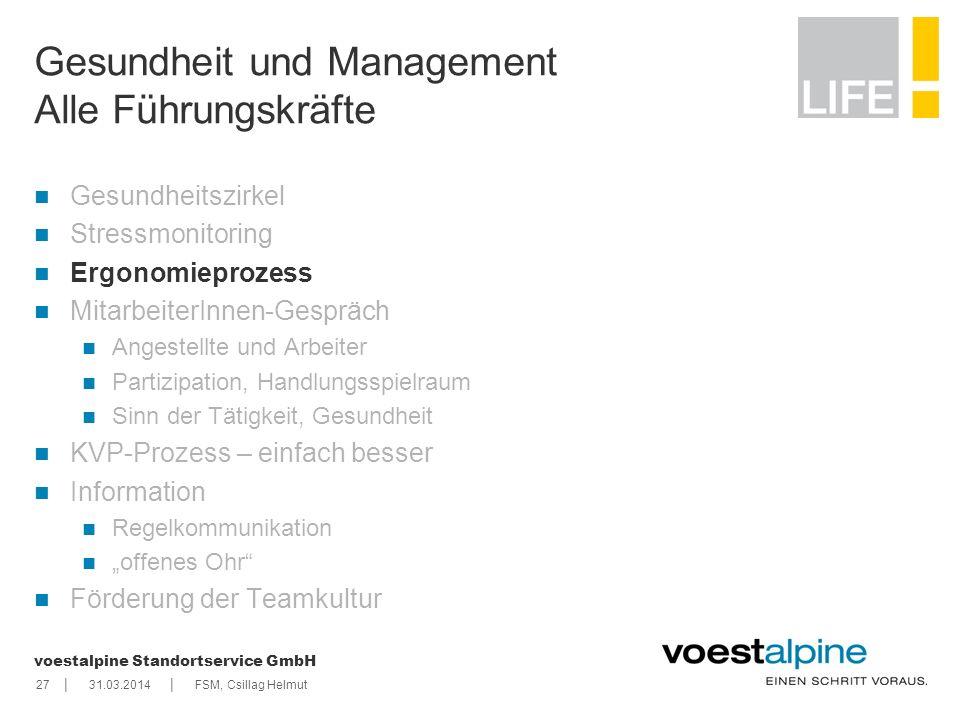 || voestalpine Standortservice GmbH 2731.03.2014FSM, Csillag Helmut Gesundheit und Management Alle Führungskräfte Gesundheitszirkel Stressmonitoring E