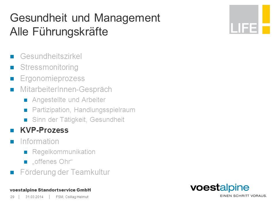 || voestalpine Standortservice GmbH 2931.03.2014FSM, Csillag Helmut Gesundheit und Management Alle Führungskräfte Gesundheitszirkel Stressmonitoring E