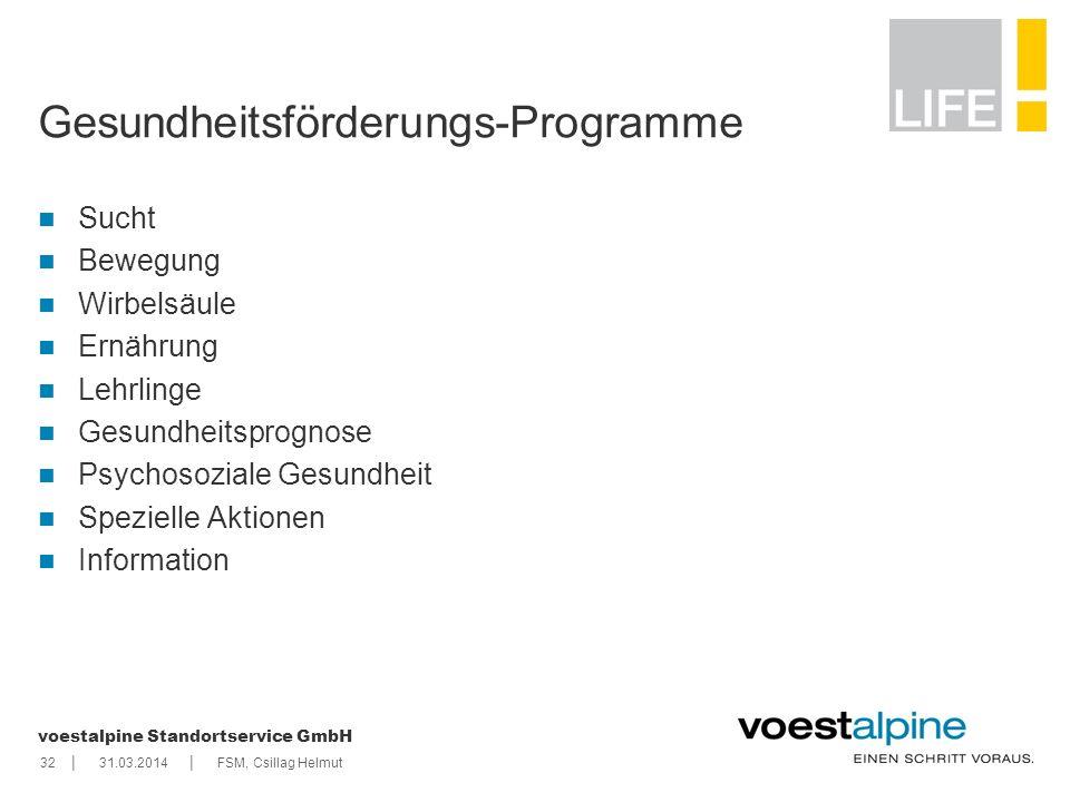 || voestalpine Standortservice GmbH 3231.03.2014FSM, Csillag Helmut Gesundheitsförderungs-Programme Sucht Bewegung Wirbelsäule Ernährung Lehrlinge Ges