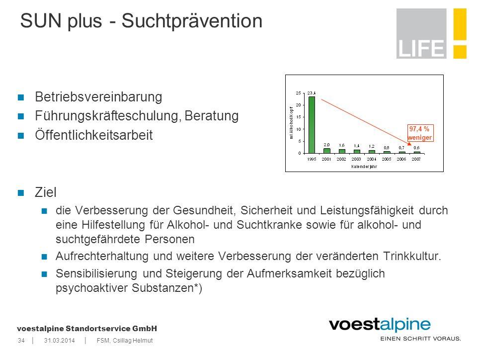    voestalpine Standortservice GmbH 3431.03.2014FSM, Csillag Helmut SUN plus - Suchtprävention Betriebsvereinbarung Führungskräfteschulung, Beratung Ö