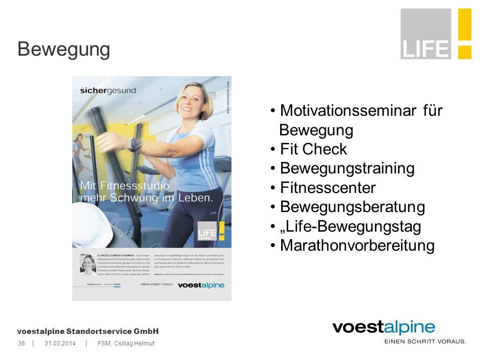    voestalpine Standortservice GmbH 3631.03.2014FSM, Csillag Helmut Bewegung Motivationsseminar für Bewegung Fit Check Bewegungstraining Fitnesscenter