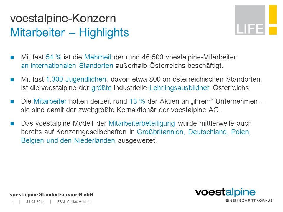    voestalpine Standortservice GmbH voestalpine-Konzern Mitarbeiter – Highlights 431.03.2014FSM, Csillag Helmut Mit fast 54 % ist die Mehrheit der run