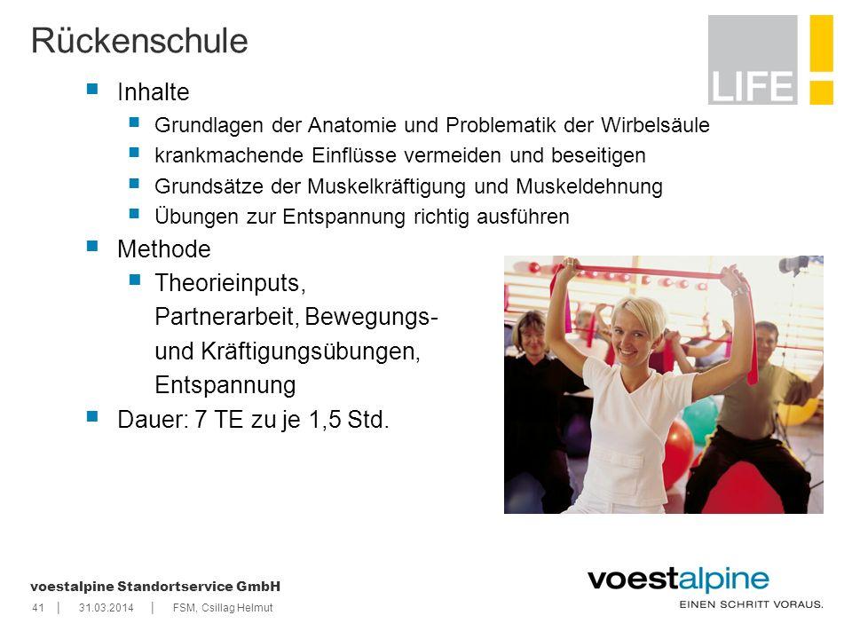    voestalpine Standortservice GmbH 4131.03.2014FSM, Csillag Helmut Rückenschule Inhalte Grundlagen der Anatomie und Problematik der Wirbelsäule krank