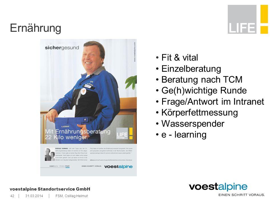 || voestalpine Standortservice GmbH 4231.03.2014FSM, Csillag Helmut Ernährung Fit & vital Einzelberatung Beratung nach TCM Ge(h)wichtige Runde Frage/A