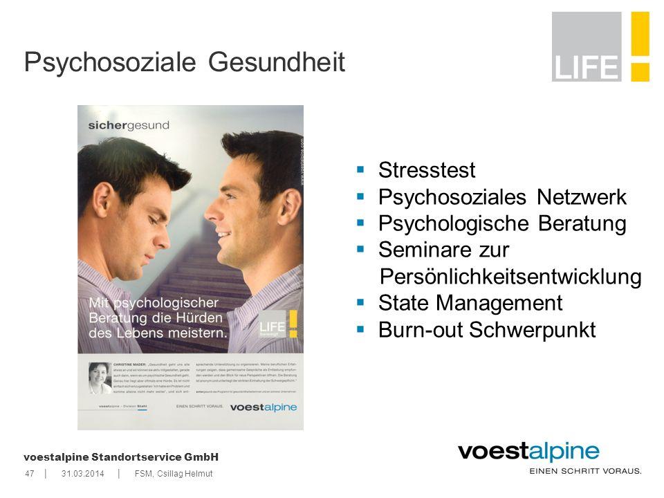   voestalpine Standortservice GmbH 4731.03.2014FSM, Csillag Helmut Psychosoziale Gesundheit Stresstest Psychosoziales Netzwerk Psychologische Beratun