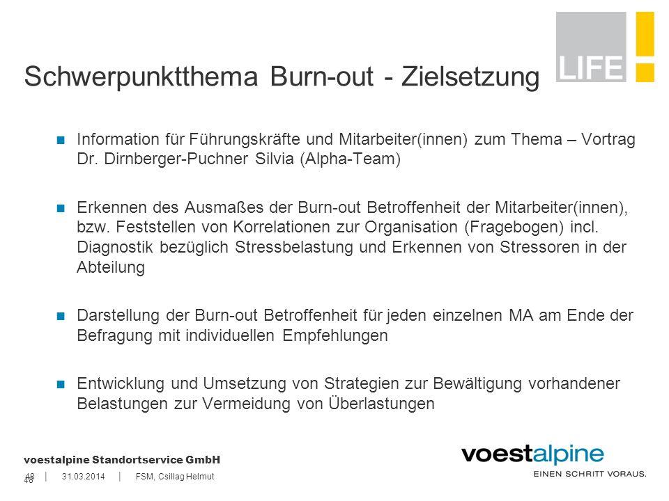 || voestalpine Standortservice GmbH 4831.03.2014FSM, Csillag Helmut 48 Schwerpunktthema Burn-out - Zielsetzung Information für Führungskräfte und Mita