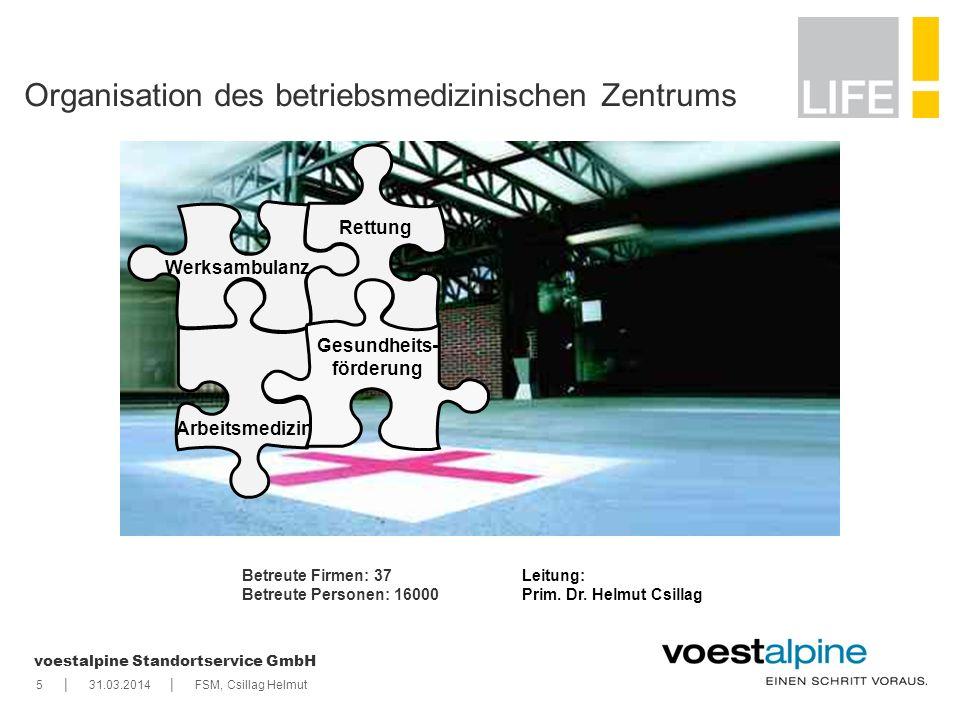 || voestalpine Standortservice GmbH 531.03.2014FSM, Csillag Helmut Organisation des betriebsmedizinischen Zentrums Rettung Arbeitsmedizin Werksambulan