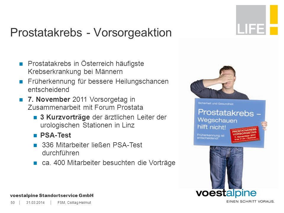   voestalpine Standortservice GmbH Prostatakrebs - Vorsorgeaktion 5031.03.2014FSM, Csillag Helmut Prostatakrebs in Österreich häufigste Krebserkranku