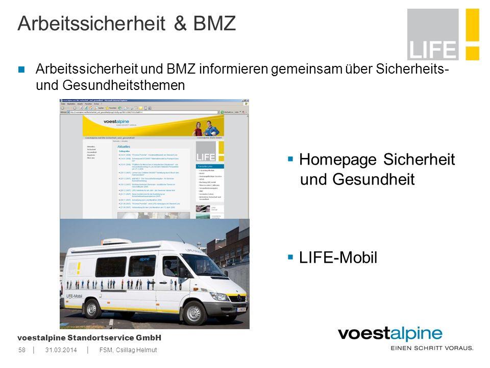    voestalpine Standortservice GmbH 5831.03.2014FSM, Csillag Helmut Arbeitssicherheit & BMZ Arbeitssicherheit und BMZ informieren gemeinsam über Siche