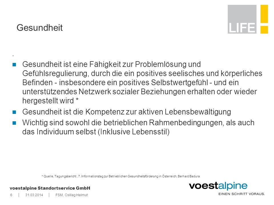   voestalpine Standortservice GmbH 631.03.2014FSM, Csillag Helmut * Quelle, Tagungsbericht, 7. Informationstag zur Betrieblichen Gesundheitsförderung
