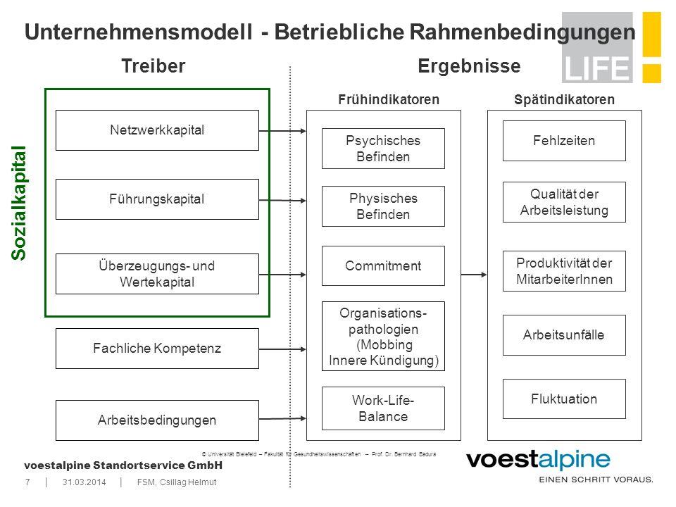   voestalpine Standortservice GmbH 731.03.2014FSM, Csillag Helmut Unternehmensmodell - Betriebliche Rahmenbedingungen TreiberErgebnisse Überzeugungs-