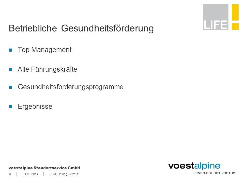 || voestalpine Standortservice GmbH 831.03.2014FSM, Csillag Helmut Betriebliche Gesundheitsförderung Top Management Alle Führungskräfte Gesundheitsför