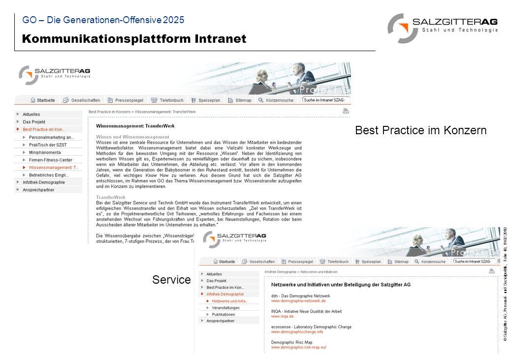 © Salzgitter AG, Personal- und Sozialpolitik, Folie 40, 19.02.2010 Kommunikationsplattform Intranet Best Practice im Konzern Service GO – Die Generationen-Offensive 2025