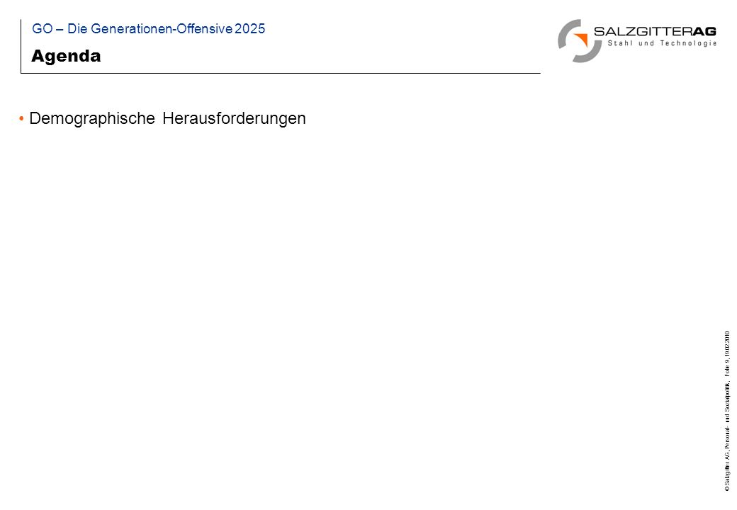 © Salzgitter AG, Personal- und Sozialpolitik, Folie 30, 19.02.2010 Grundlagen: Tarifvertrag zur Gestaltung des demographischen Wandels in der Eisen- und Stahlindustrie (2006) KBV Gestaltung des demographischen Wandels vom 05.12.2007 Bildung betrieblicher Demographiefonds 2007 Paritätische Finanzierung durch Konzerngesellschaften und deren Arbeitnehmer Mittelverwendung vorrangig für das vorzeitige Ausscheiden besonders belasteter älterer Beschäftigter Inanspruchnahme: ursprünglich ab 01.01.2010, Sonderprogramm 2009 Wiederbesetzung erfolgt vorrangig mit Ausgebildeten in einem unbefristeten Arbeitsverhältnis bei Übergang in die passive Phase GO – Die Generationen-Offensive 2025 Beispiel: Demographiefonds der Salzgitter AG