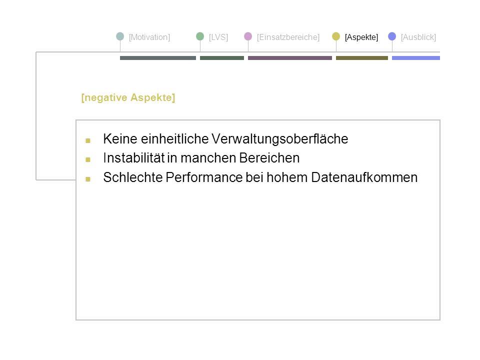 [Motivation][LVS][Einsatzbereiche][Aspekte] [Ausblick] Keine einheitliche Verwaltungsoberfläche Instabilität in manchen Bereichen Schlechte Performanc