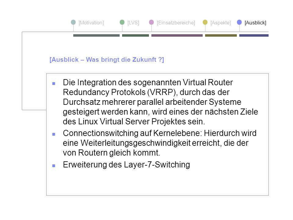[Motivation][LVS][Einsatzbereiche][Aspekte] [Ausblick] Die Integration des sogenannten Virtual Router Redundancy Protokols (VRRP), durch das der Durch