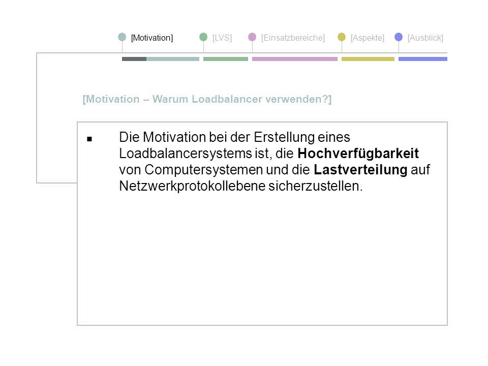 [Motivation][LVS][Einsatzbereiche][Aspekte] [Ausblick] Die Motivation bei der Erstellung eines Loadbalancersystems ist, die Hochverfügbarkeit von Comp