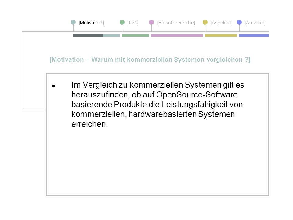 [Motivation][LVS][Einsatzbereiche][Aspekte] [Ausblick] Im Vergleich zu kommerziellen Systemen gilt es herauszufinden, ob auf OpenSource-Software basie