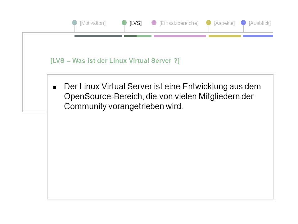 [Motivation][LVS][Einsatzbereiche][Aspekte] [Ausblick] Der Linux Virtual Server ist eine Entwicklung aus dem OpenSource-Bereich, die von vielen Mitgli