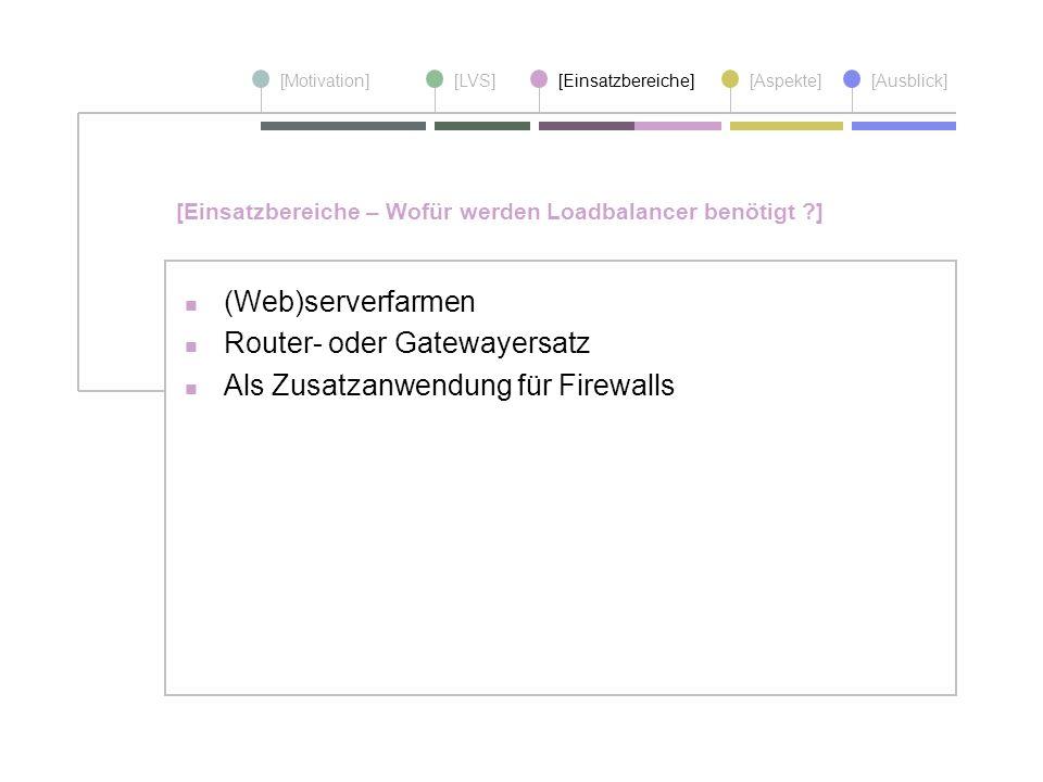 [Motivation][LVS][Einsatzbereiche][Aspekte] [Ausblick] (Web)serverfarmen Router- oder Gatewayersatz Als Zusatzanwendung für Firewalls [Einsatzbereiche