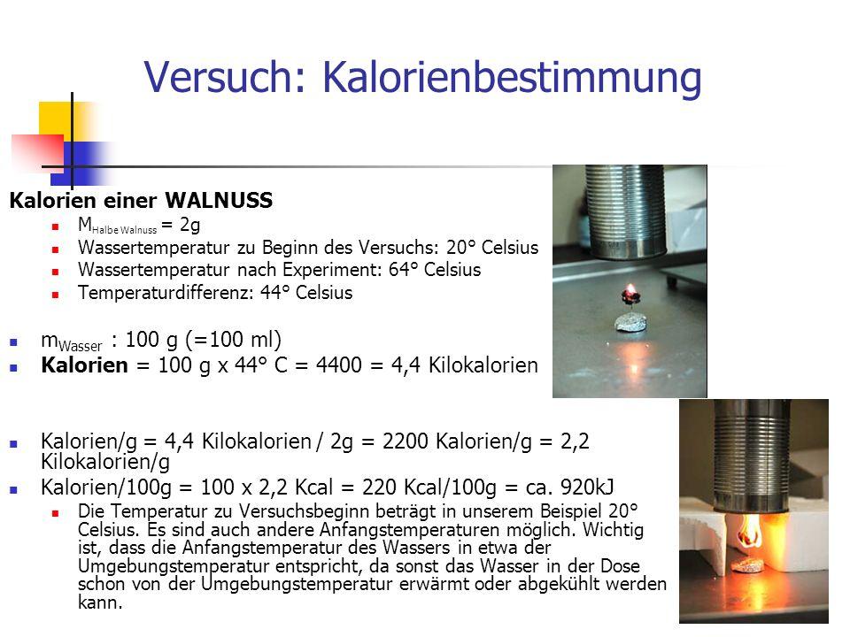 Versuch: Kalorienbestimmung Kalorien einer WALNUSS M Halbe Walnuss = 2g Wassertemperatur zu Beginn des Versuchs: 20° Celsius Wassertemperatur nach Experiment: 64° Celsius Temperaturdifferenz: 44° Celsius m Wasser : 100 g (=100 ml) Kalorien = 100 g x 44° C = 4400 = 4,4 Kilokalorien Kalorien/g = 4,4 Kilokalorien / 2g = 2200 Kalorien/g = 2,2 Kilokalorien/g Kalorien/100g = 100 x 2,2 Kcal = 220 Kcal/100g = ca.