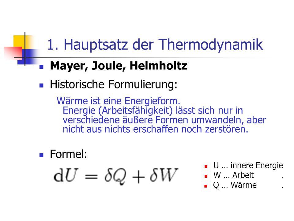 1. Hauptsatz der Thermodynamik Mayer, Joule, Helmholtz Historische Formulierung: Wärme ist eine Energieform. Energie (Arbeitsfähigkeit) lässt sich nur