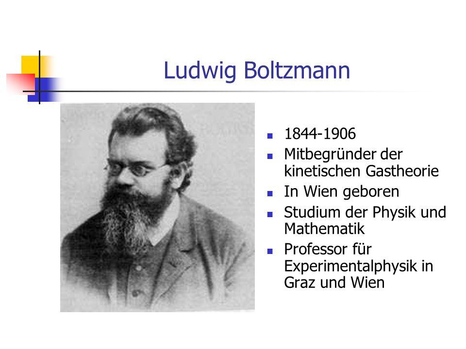 Ludwig Boltzmann 1844-1906 Mitbegründer der kinetischen Gastheorie In Wien geboren Studium der Physik und Mathematik Professor für Experimentalphysik in Graz und Wien