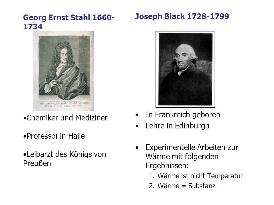 Joseph Black 1728-1799 In Frankreich geboren Lehre in Edinburgh Experimentelle Arbeiten zur Wärme mit folgenden Ergebnissen: 1.Wärme ist nicht Temperatur 2.Wärme = Substanz Georg Ernst Stahl 1660- 1734 Chemiker und Mediziner Professor in Halle Leibarzt des Königs von Preußen