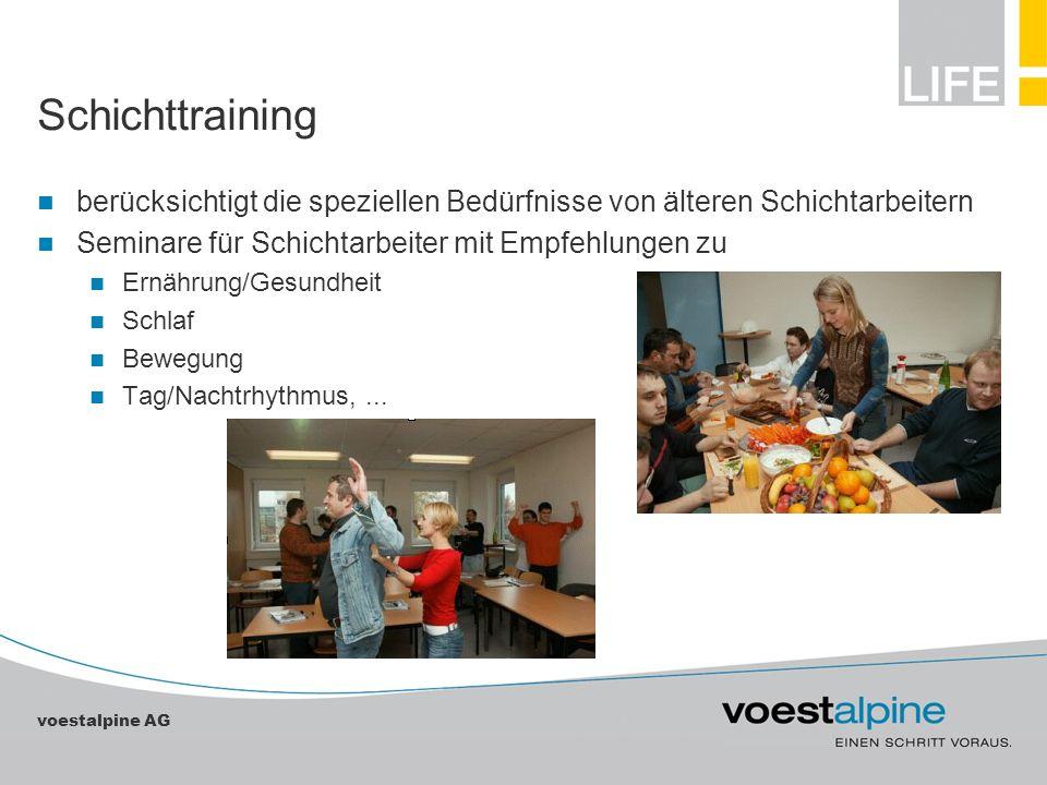 voestalpine AG Schichttraining berücksichtigt die speziellen Bedürfnisse von älteren Schichtarbeitern Seminare für Schichtarbeiter mit Empfehlungen zu
