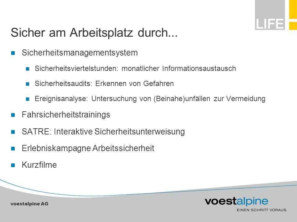 voestalpine AG Sicher am Arbeitsplatz durch... Sicherheitsmanagementsystem Sicherheitsviertelstunden: monatlicher Informationsaustausch Sicherheitsaud