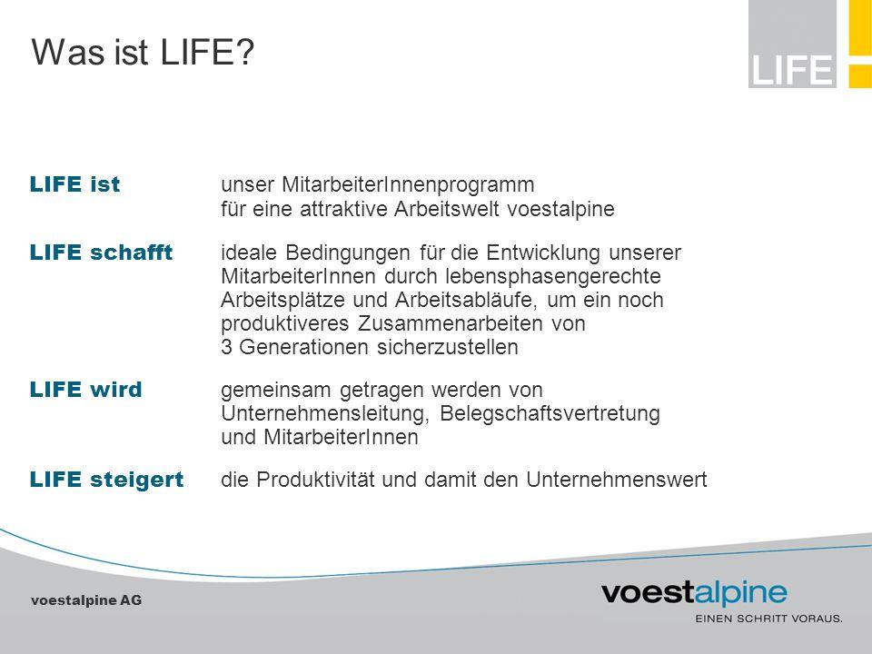 voestalpine AG Was ist LIFE? LIFE ist unser MitarbeiterInnenprogramm für eine attraktive Arbeitswelt voestalpine LIFE schafft ideale Bedingungen für d