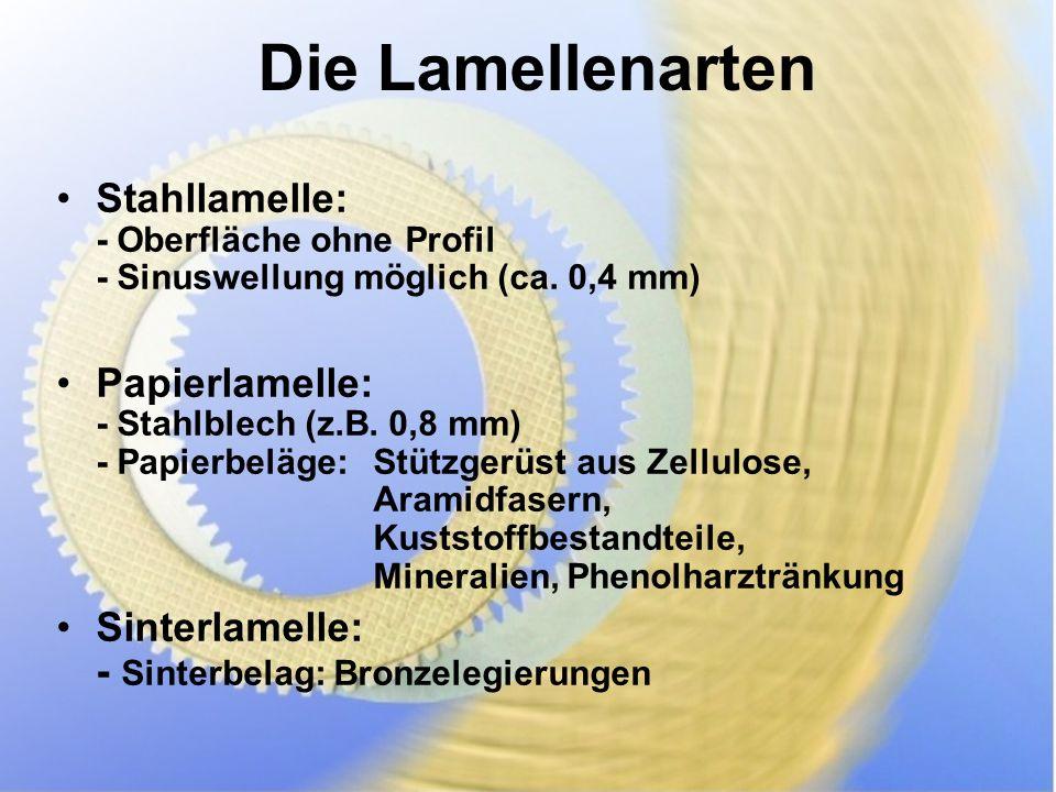 Die Lamellenarten Stahllamelle: - Oberfläche ohne Profil - Sinuswellung möglich (ca.