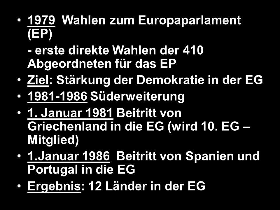 1979 Wahlen zum Europaparlament (EP) - erste direkte Wahlen der 410 Abgeordneten für das EP Ziel: Stärkung der Demokratie in der EG 1981-1986 Süderwei