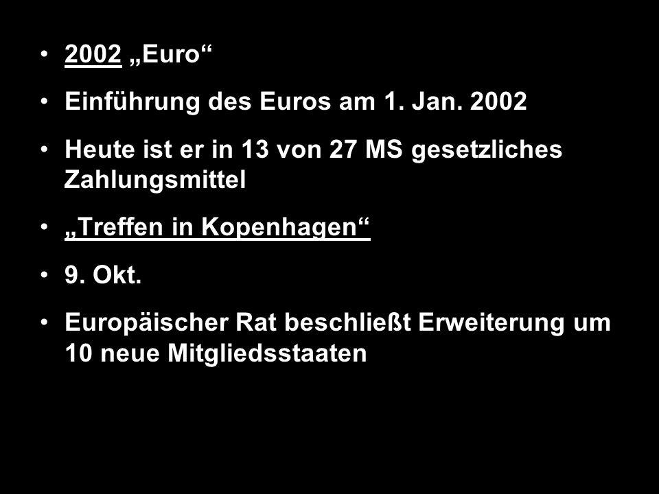 2002 Euro Einführung des Euros am 1. Jan. 2002 Heute ist er in 13 von 27 MS gesetzliches Zahlungsmittel Treffen in Kopenhagen 9. Okt. Europäischer Rat