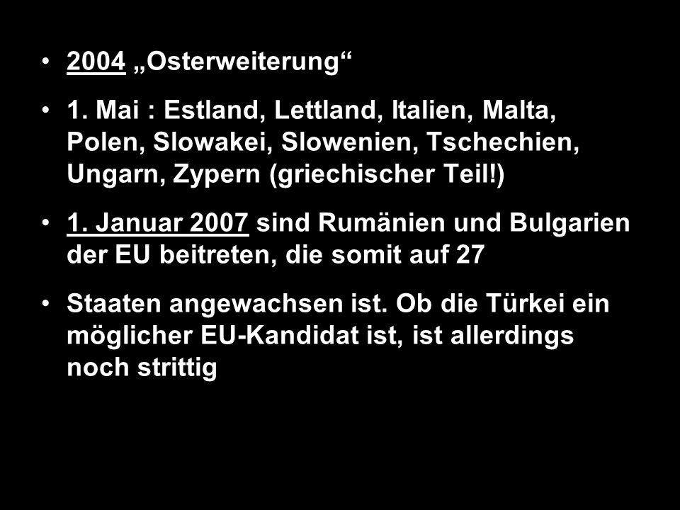 2004 Osterweiterung 1. Mai : Estland, Lettland, Italien, Malta, Polen, Slowakei, Slowenien, Tschechien, Ungarn, Zypern (griechischer Teil!) 1. Januar