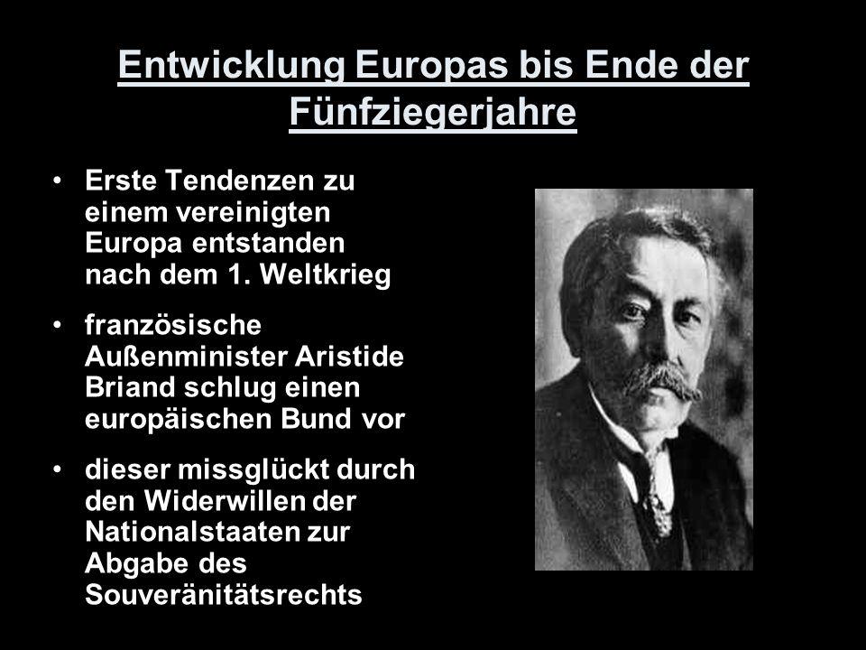 Entwicklung Europas bis Ende der Fünfziegerjahre Erste Tendenzen zu einem vereinigten Europa entstanden nach dem 1. Weltkrieg französische Außenminist