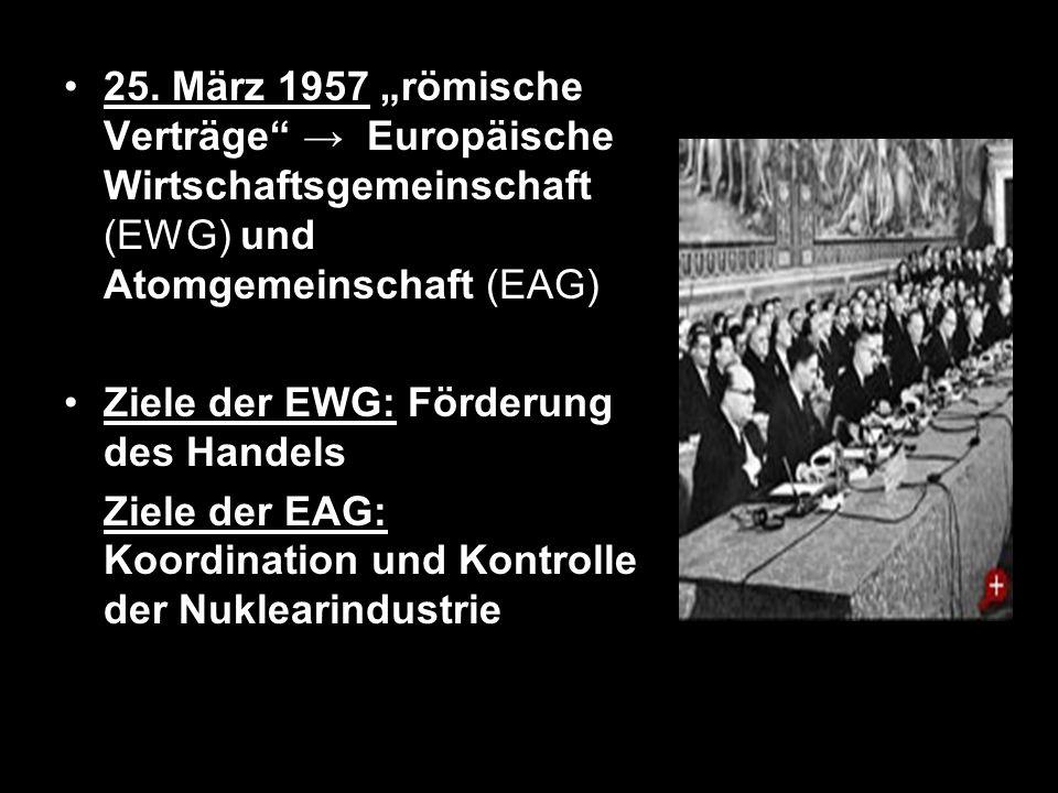 25. März 1957 römische Verträge Europäische Wirtschaftsgemeinschaft (EWG) und Atomgemeinschaft (EAG) Ziele der EWG: Förderung des Handels Ziele der EA